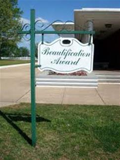 Beautification Award Sign Hanging