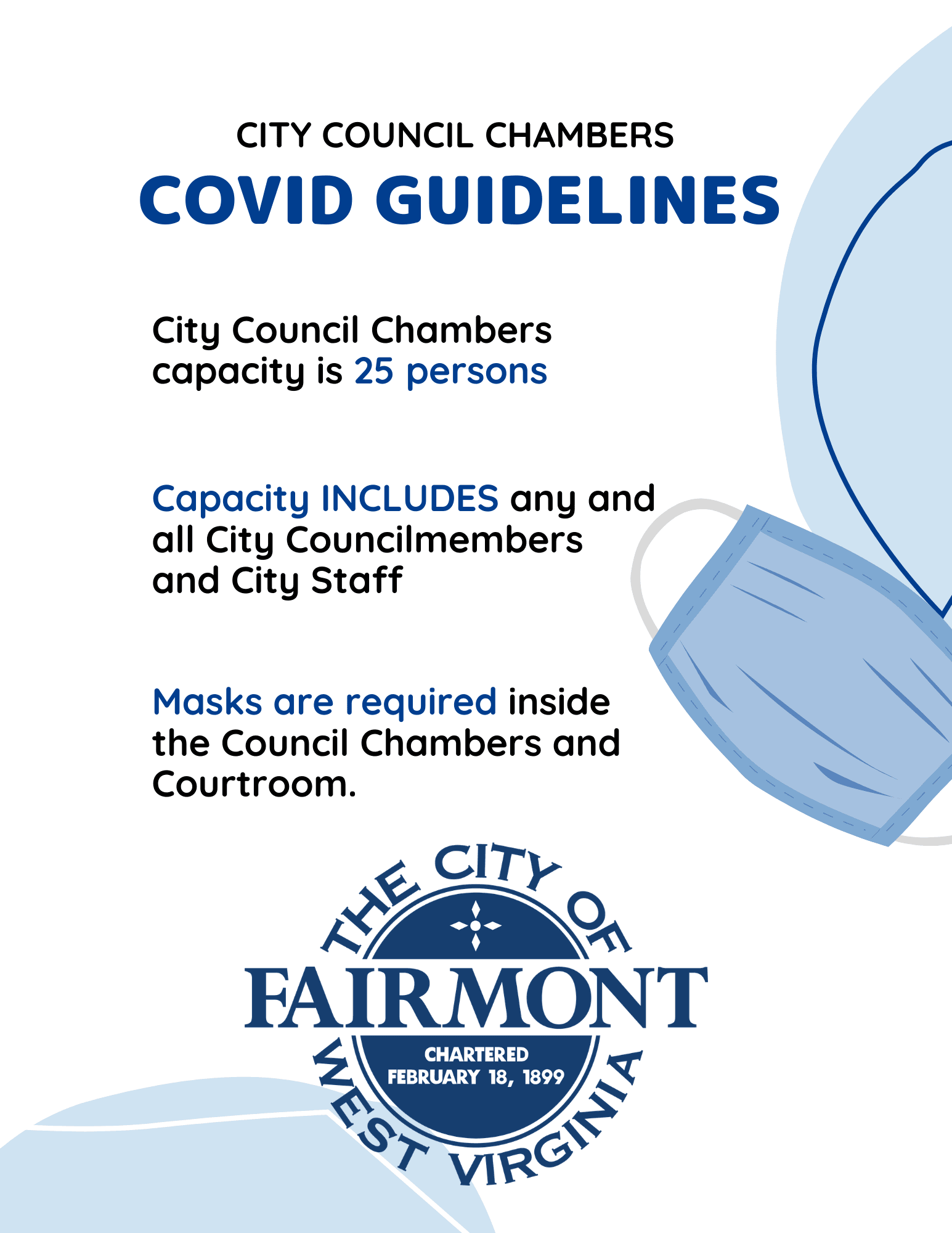 City Council COVID Guidelines - Council chambers will contain a maximum of 25 people.
